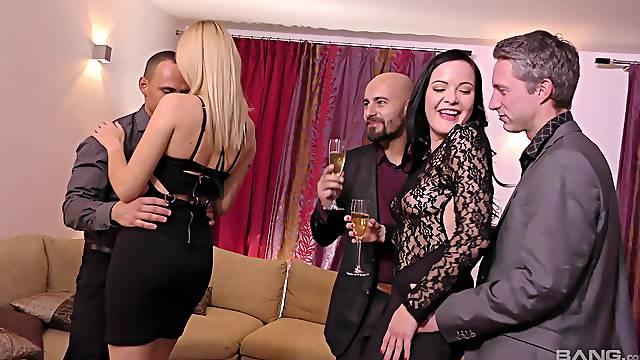 Aroused wives in full orgy enjoying the biggest dicks