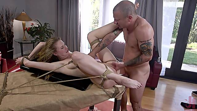 Tied up blonde Ashley Lane spanked and forced to deepthroat