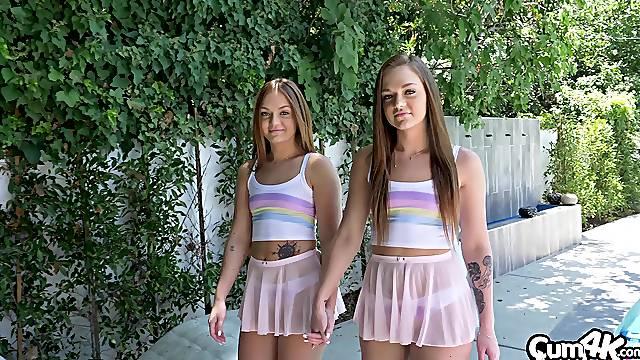 Two nerds fucking stunning twins Sami White and Joey White