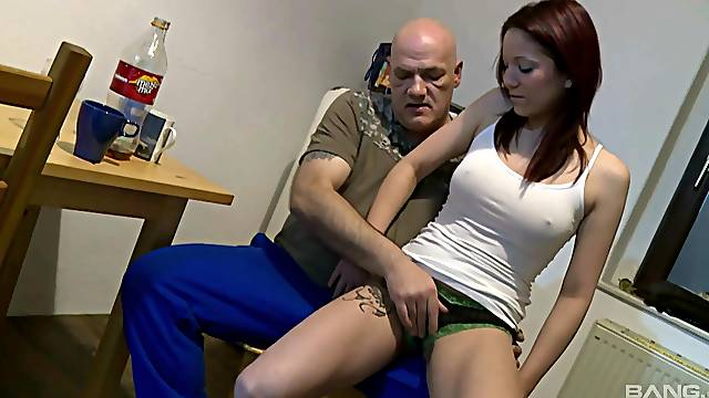 Strong sex in the kitchen with her horny step dad