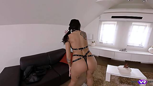 Brunette plays with her pussy in insolent home solo