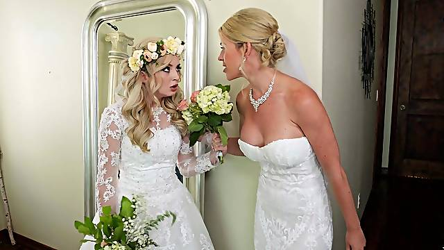 Bride to be shares cock with her mom right before the wedding