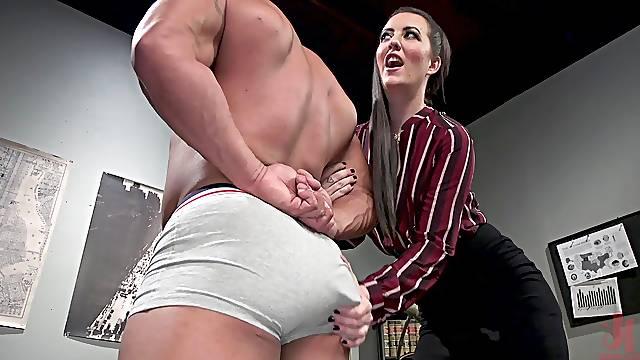 Mature ass fucks male slave then makes him eat ass