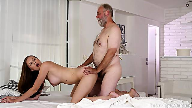 Old man feels young pussy again after taking his Viagra