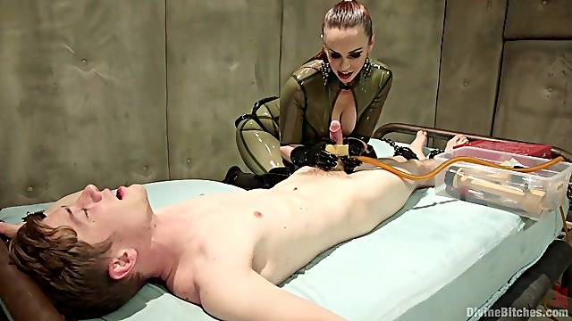 Strong action with a busty MILF acting dominant in her latex costume