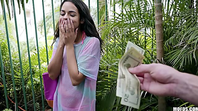 Public sex for cash turns on gorgeous brunette Vienna Black