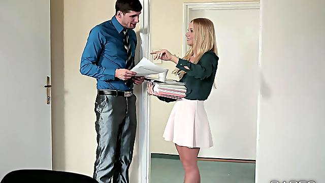 Petite office girl seems ready for a good fuck at work