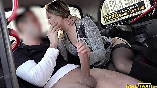 Hot blonde rides the taxi driver's cock in excellent manners