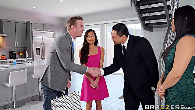 Crazy hard sex during business meeting for the tight Asian
