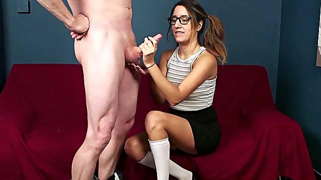 CFNM oral fun and deep sex for a nerdy slut in heats