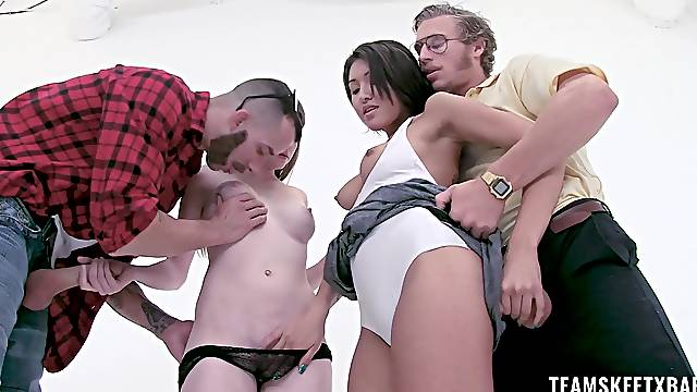 Smooth pussy penetration for two naughty dolls and their lovers