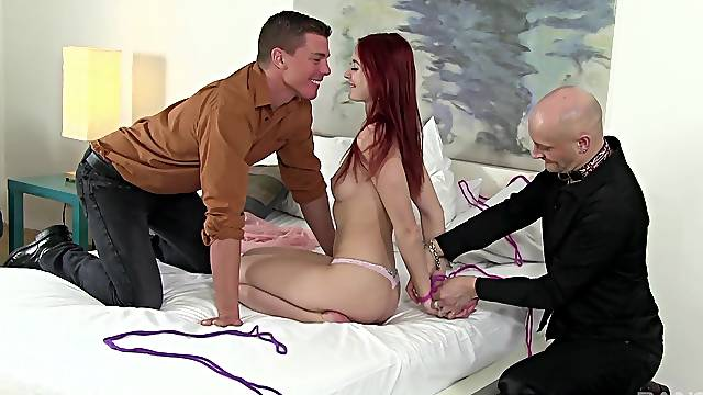 Sexy ass redhead tied up and fucked in a sensual cuckold