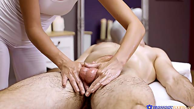 Erotic nude massage with the masseur fucking in the end
