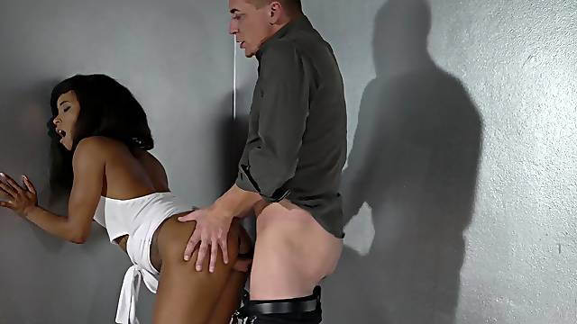 Rough play for the petite ebony once the white hammer suits her vag