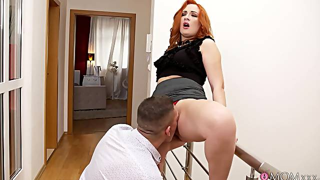 Redhead MILF Eva Berger gives it up to a hung younger man