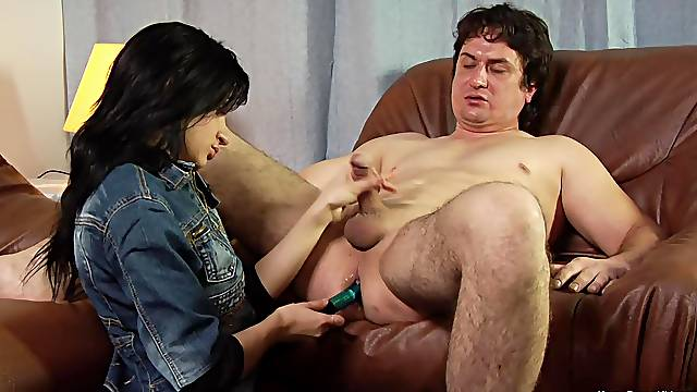Dominant whore ass fucks submissive man in kinky fetish action