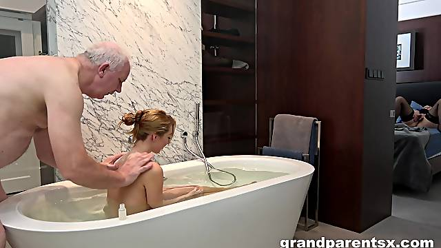 Older couple enjoys sexy blonde's sexual energy and aptitude