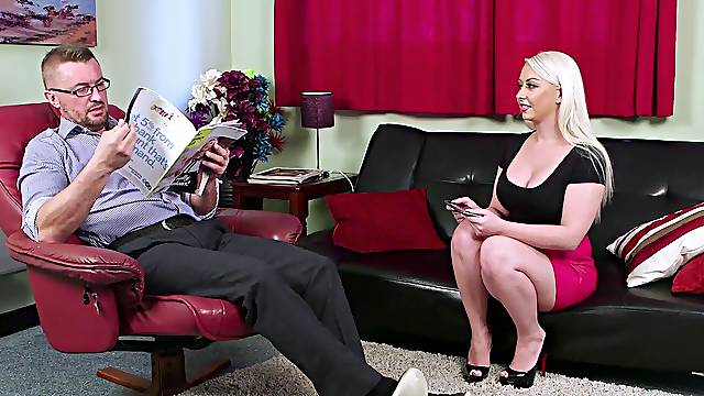 Pippa Blonde watches her roommate jerk off his large cock