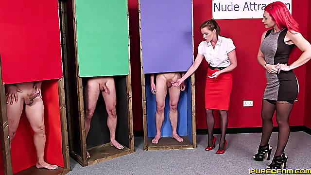 Handjob contest pleases these fine women in sexual CFNM scenes