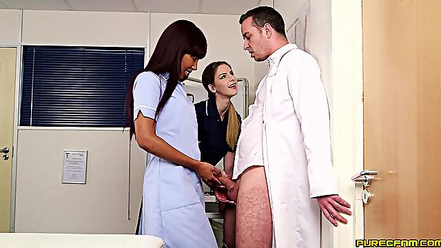 Doctor fucks both these hot nurses after a sexy CFNM play