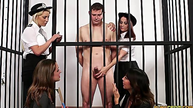 Fine female cops are sharing cock in a seductive prison CFNM