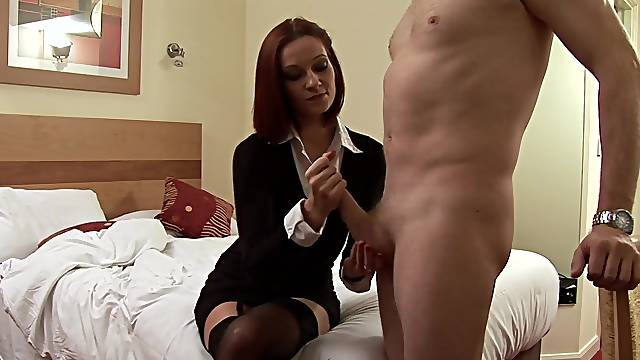 Clothed mommy jerks son's cock on flawless CFNM