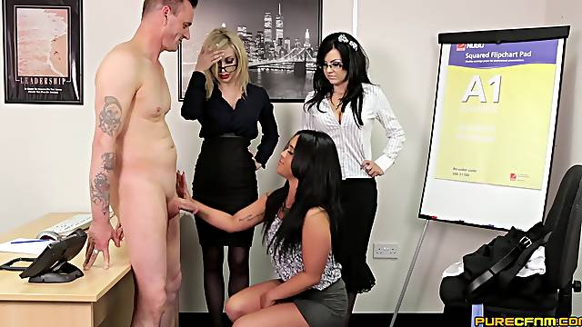 Insolent office MILFs share the new guy in spicy CFNM scenes