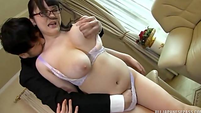 Big-chested Asian Yatsuka Mikoto gets her tight cunt creampied