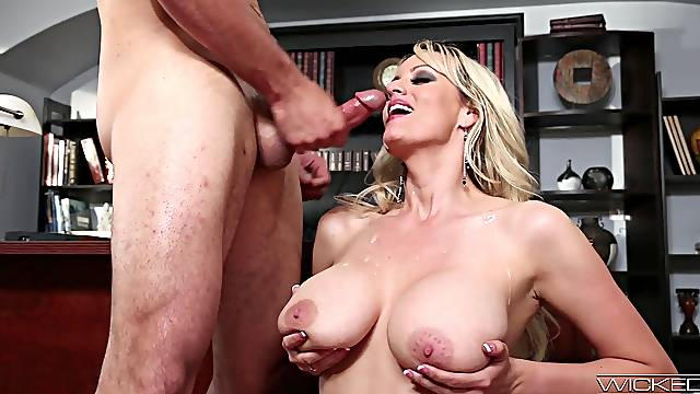 This MILF soaks her big tits in sperm after exceptional fucking
