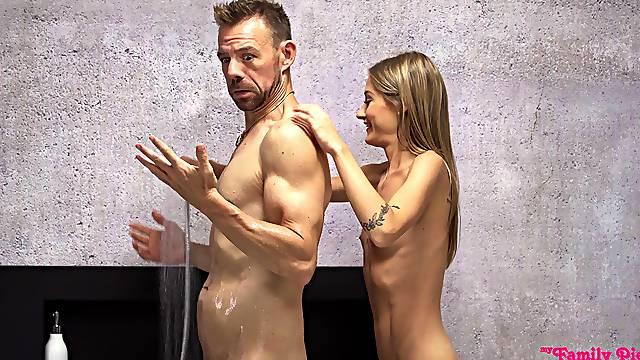 Petite skinny beauty shows stepdad the best fuck