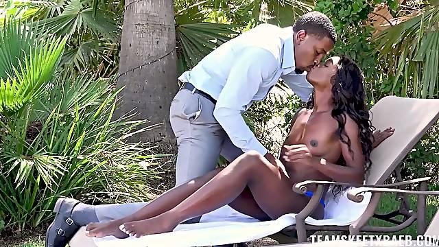 Ebony with skinny ass, insane backyard porn