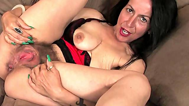Busty mature with hairy cunt, insolent home solo
