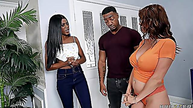 Black dude roughly fucks both bitches and comes on them
