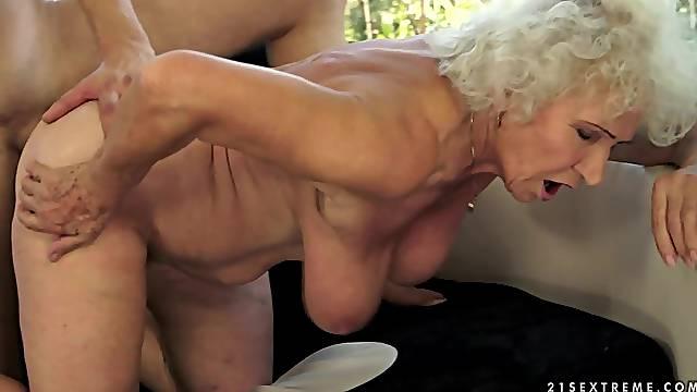 He nails hairy granny pussy