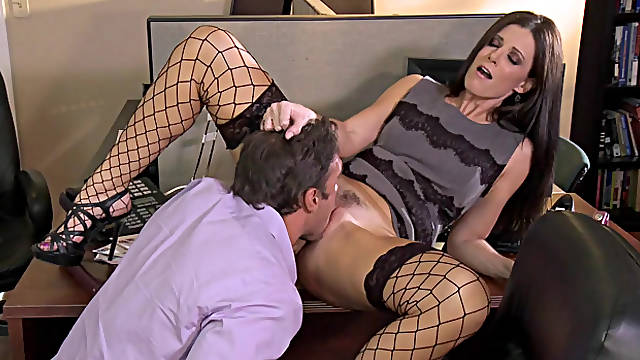 Sexy secretary in stockings India Summer gets pussy licking