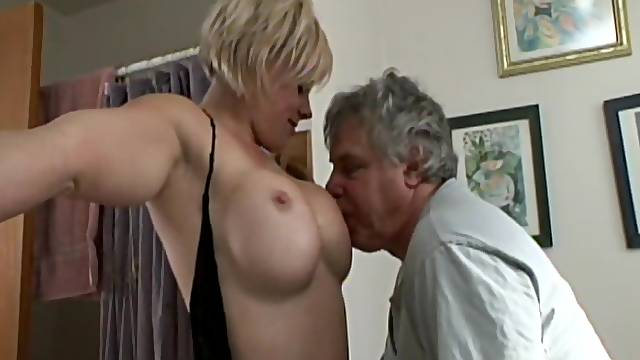 Old fart licking pussy of nice alluring blonde