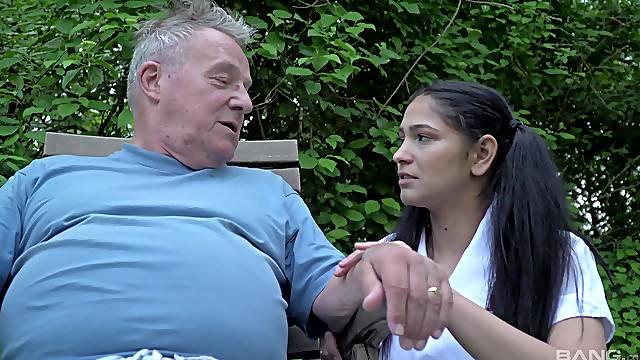 Teen nurse pleases senior man with one last blowjob