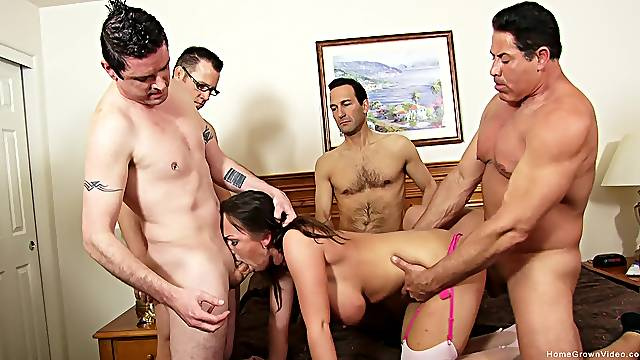Busty mature wife shared by a bunch of men in dirty gang bang scenes