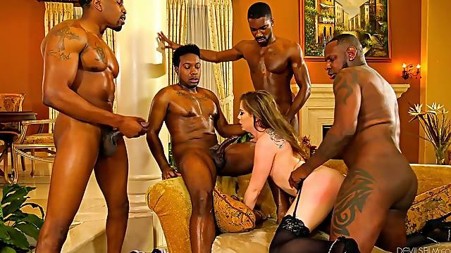 Bobbi Dylan showcases her sexual skill set during interracial gangbang