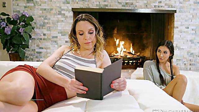 Outstanding FFM fuck in front of a fire for Jade Nile and Gianna Dior