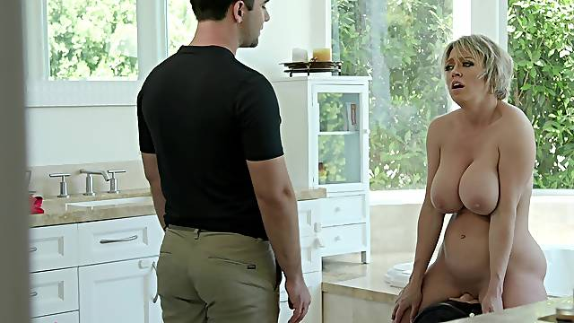 Mature with huge tits, insane porn with the young son