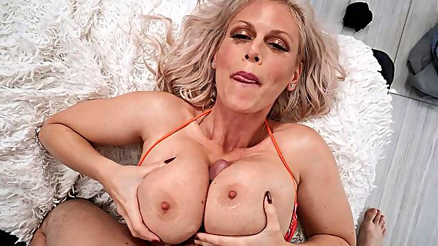 Intense POV sex with mommy after a great titjob