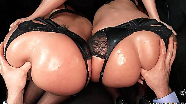 Two MILFs on the same dick for insane anal POV sex