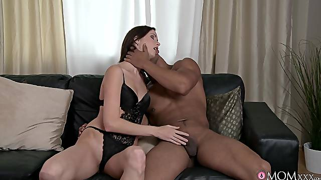 Married woman in black lingerie, first interracial