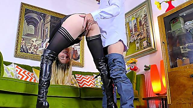 Dirty home fetish with the sleazy wife