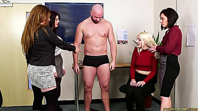 Man with steel inches fucks all women in his office