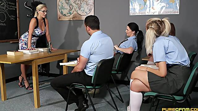 Schoolgirls love seeing their teacher working the dick for them