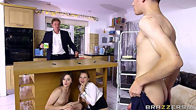 Horny mom and daughter home action on the young lad's huge dick