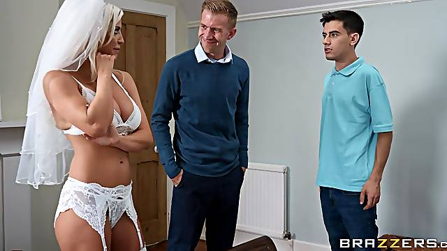 Fucked on her wedding day by two of her future hubby's best friends