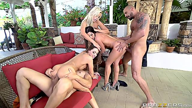Gorgeous nude women share dicks and pose hot in marvelous wife orgy